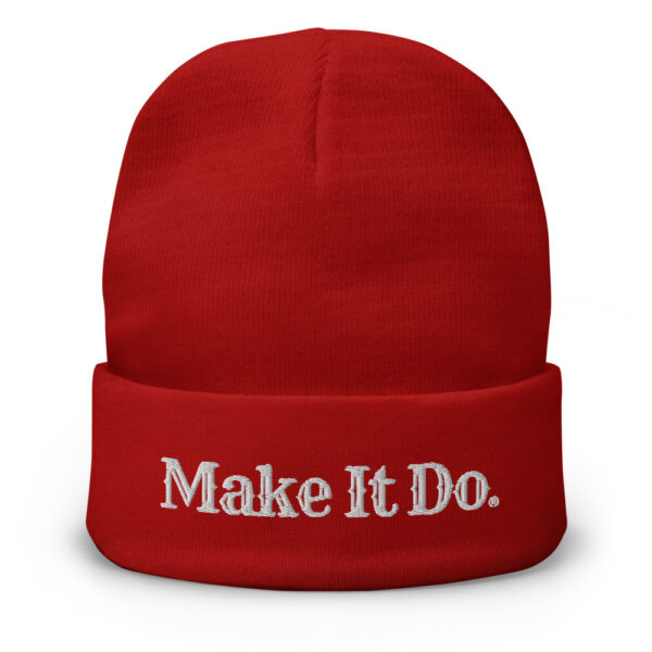 Gifts For Men beanie hat with Make It Do® logo embroidered in white stitching.