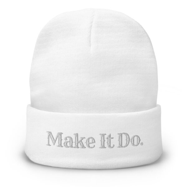 White beanie hat sold buy Gifts For Men featuring the Make It Do® logo embroidered in white stitching