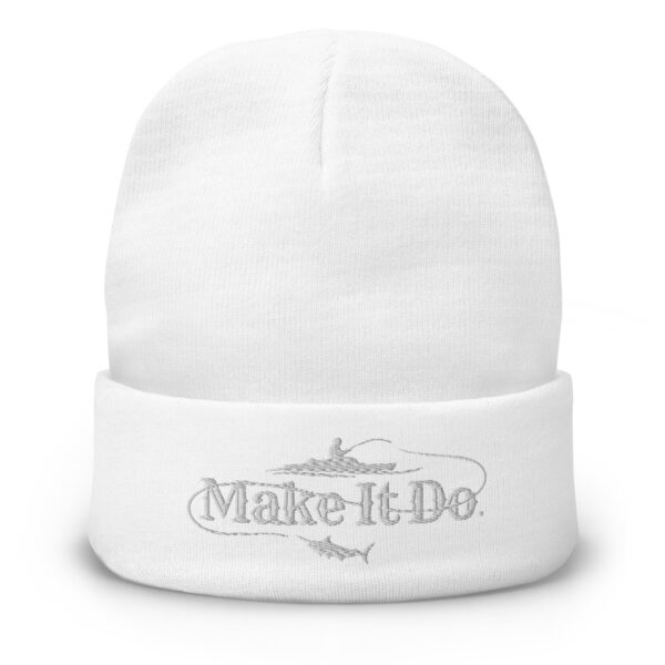 Gifts For Men fishing beanie hat that has the Make It Do® logo embroidered with white stitching