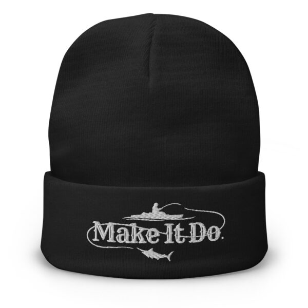 Gifts For Men black beanie hat with Make It Do® fishing logo.