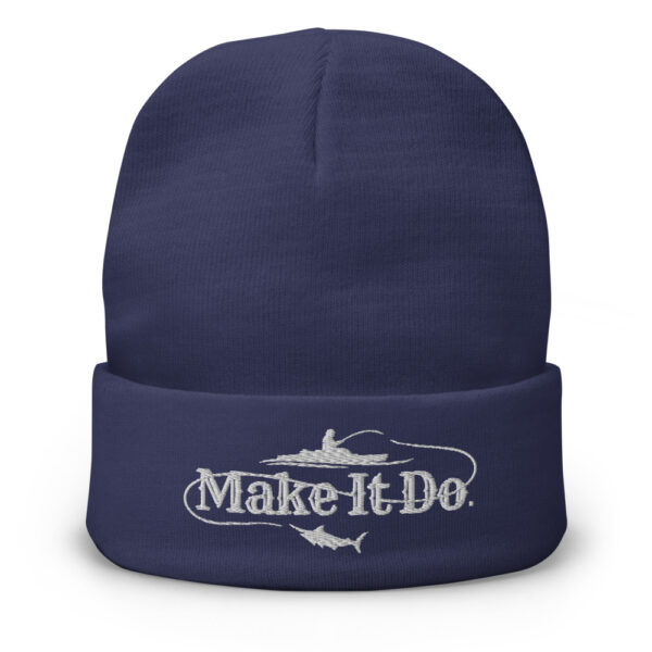 Fishing hat from Gifts For Men featuring the Make It Do® of a fishing scene. Logo is embroidered in white stitching.