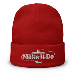 Fishing Beanie hat from Gifts For Men featuring the Make It Do® fishing logo. Hat is embroidered with white stitching.