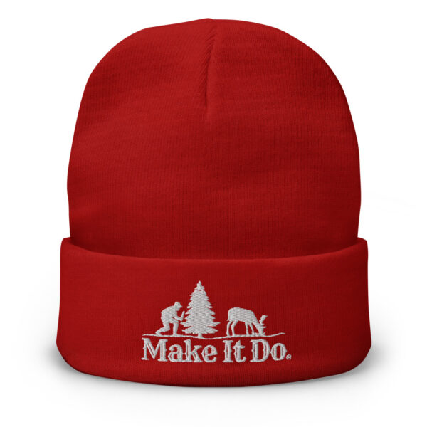 Red Gifts For Men beanie hat featuring the Make It Do® hunter logo