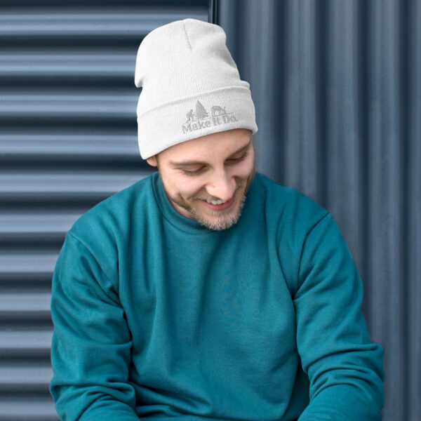 Guy wearing a Gifts For Men beanie hat featuring the Make It Do® hunter logo