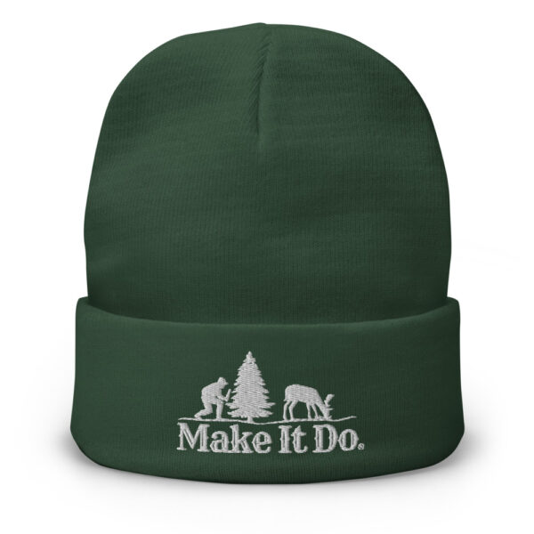 Green Gifts For Men Beanie Hat with Make It Do® Hunter Logo