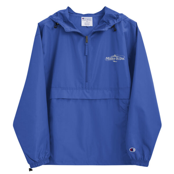 Royal blue fishing rain jacket sold by Gifts For Men with Make It Do® fishing logo embroidered,