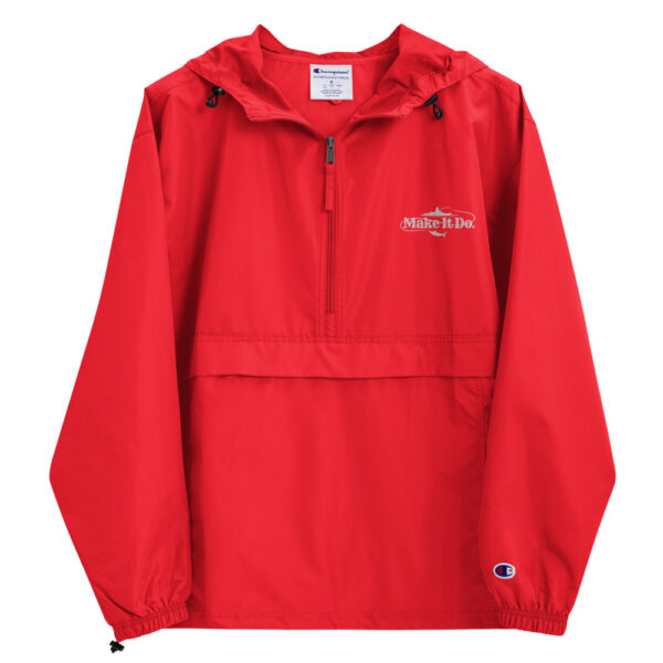 Scarlet red rain jacket from Gifts For Men featuring the Make It Do® fishing logo embroidered in white stitching