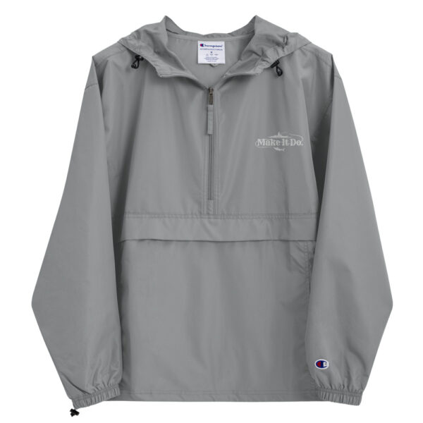 Graphite, gray colored fishing jacket with Make It Do® embroidered in white stitching