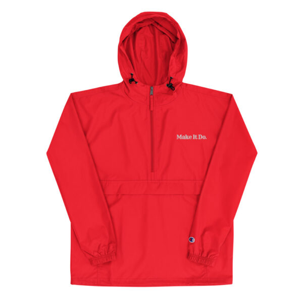 Scarlet colored jacket (red) from Gifts For Men has embroidered Make It Do® logo.