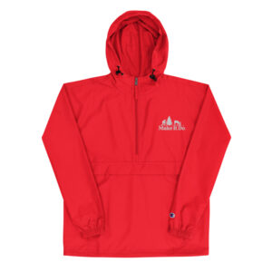 Scarlet red hunting jacket from Gifts For Men boast Make It Do® hunting logo embroidered in white stitching