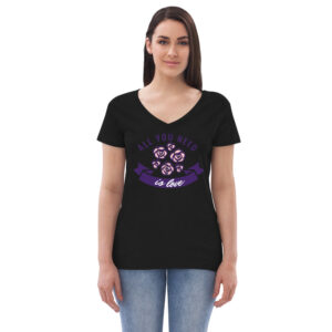 Black colored Love shirt for women front view