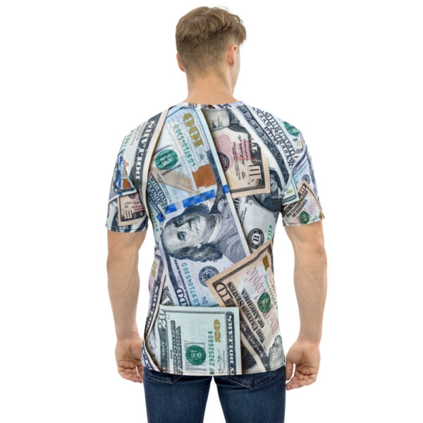 Tee shirt for men featuring all-over money design back