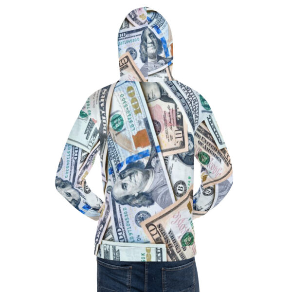 Back view of Hoodie sweater for men or women featuring all-over money design