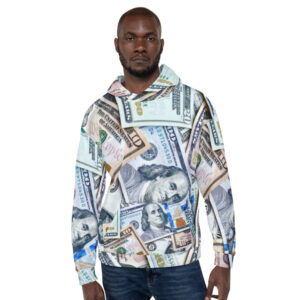 Money Hoodie sweater for men or women featuring all-over money design, front view