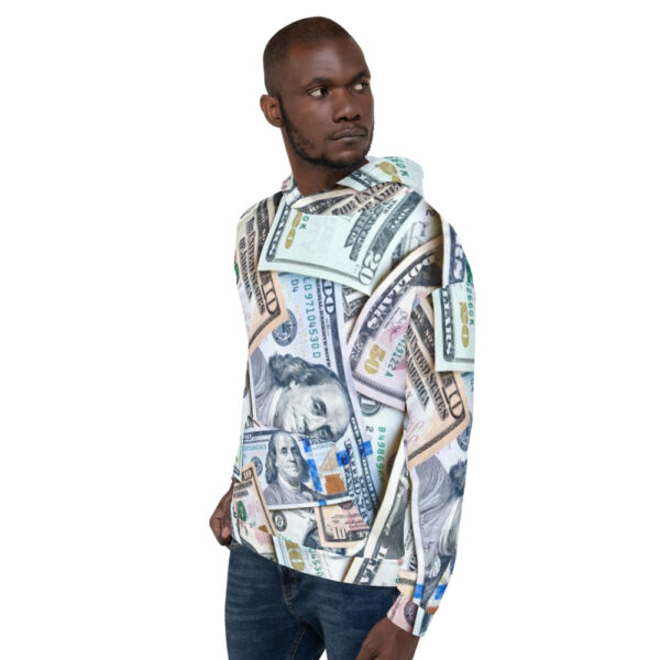 Hoodie sweater for men or women featuring all-over money design