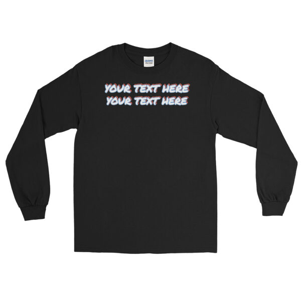 Men's black sleeve shirt with personalized text on front