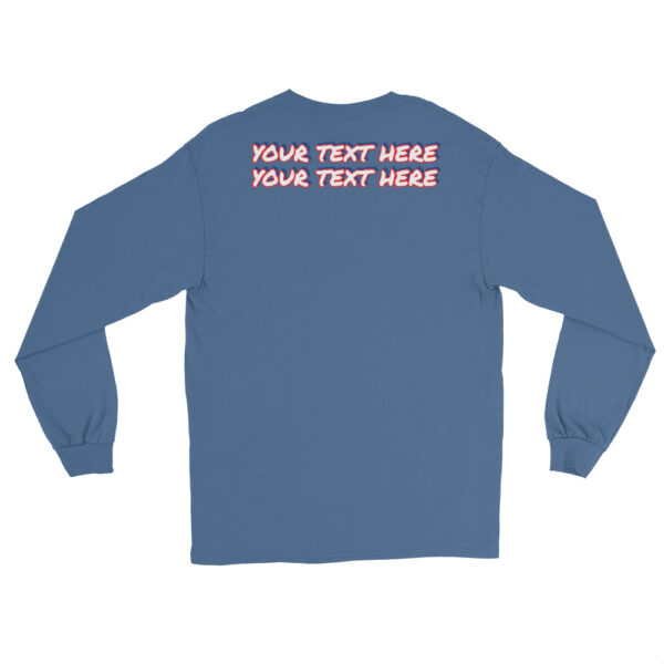 Men's indigo blue long sleeve shirt with personalized text on front