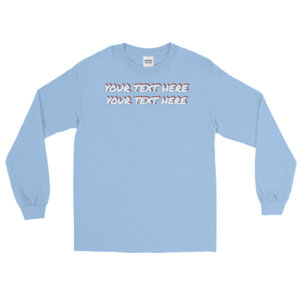 Men's light blue long sleeve shirt with personalized text on front
