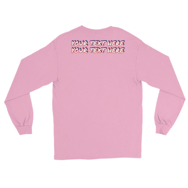 Men's light pink long sleeve shirt with personalized text on front