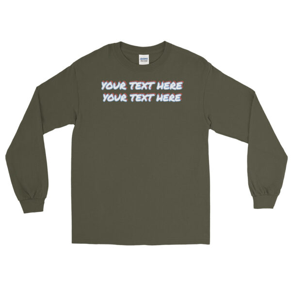 Men's military green long sleeve shirt with personalized text on front