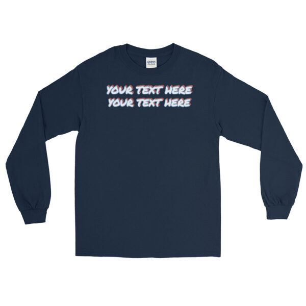Men's navy blue sleeve shirt with personalized text on front