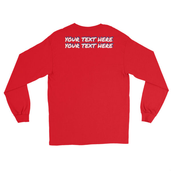 Men's red long sleeve shirt with personalized text on front