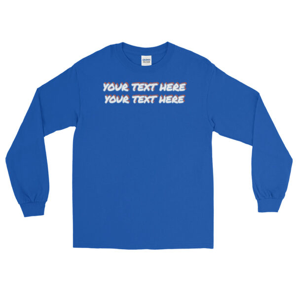 Men's royal blue long sleeve shirt with personalized text on front
