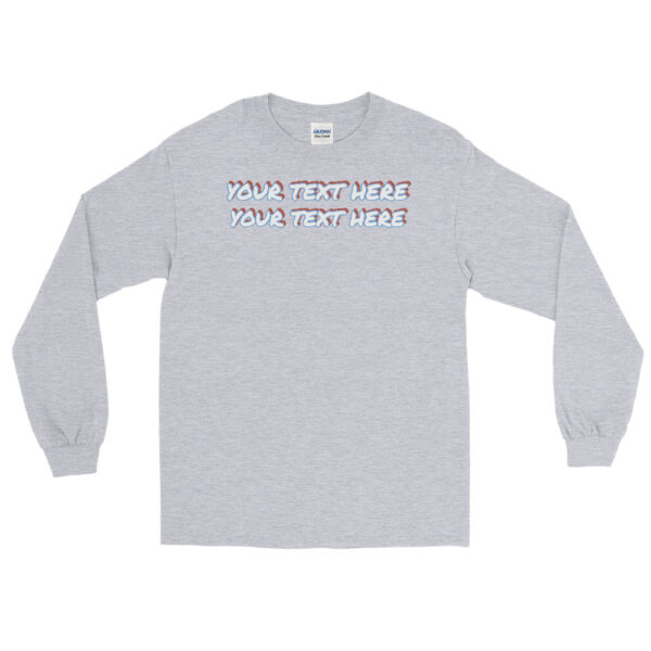 Men's sport grey long sleeve shirt with personalized text on front