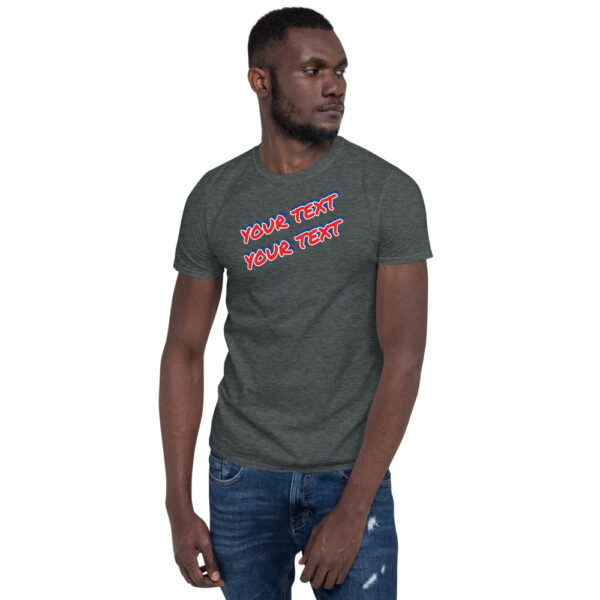 Dark heather short sleeve shirt with 3D personalized text