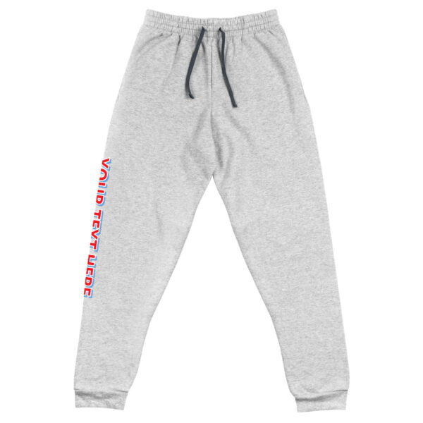 3D personalized font on right leg of grey jogger pants