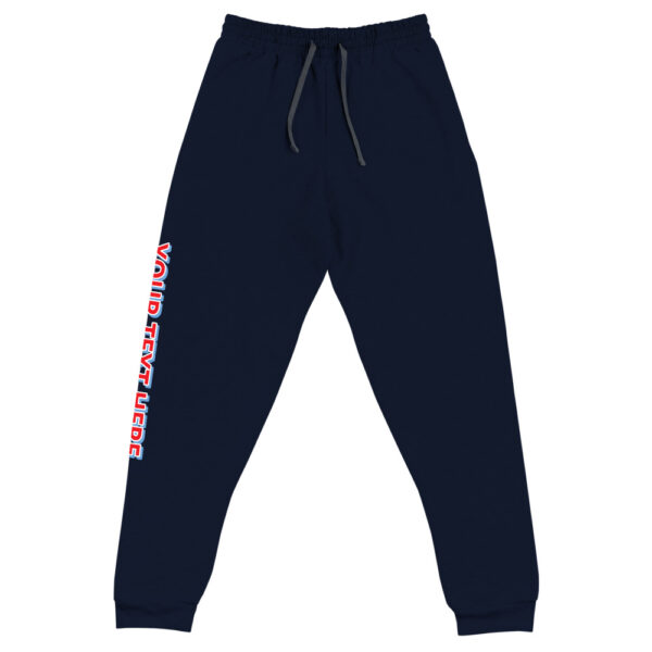 3D personalized font on right leg of navy jogger pants