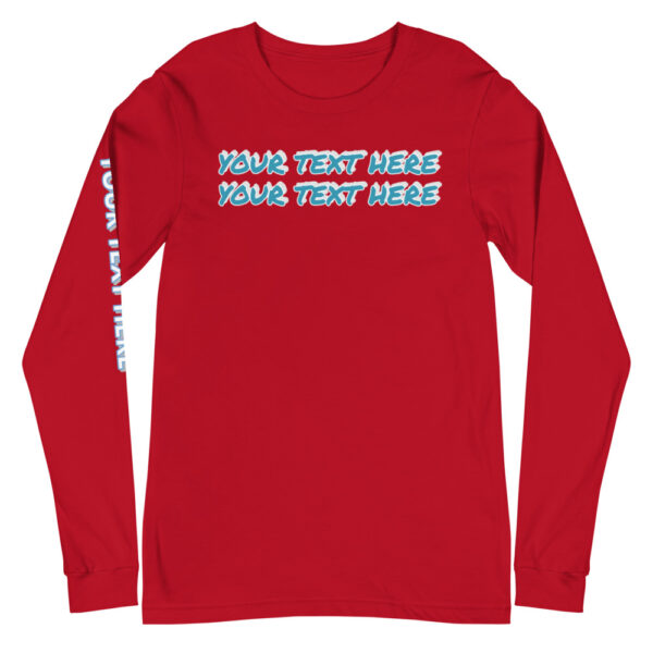 Red long sleeve shirt with personalized text on front and right sleeve
