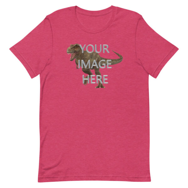 Personalize this heather raspberry colored shirt with your image
